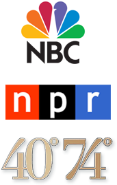Logos for NBC, NPR, and 70 74